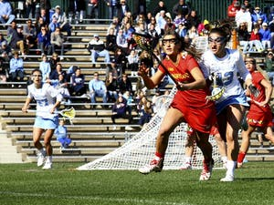 Sammy Jo Tracy (13) defends against a Maryland player Saturday afternoon.