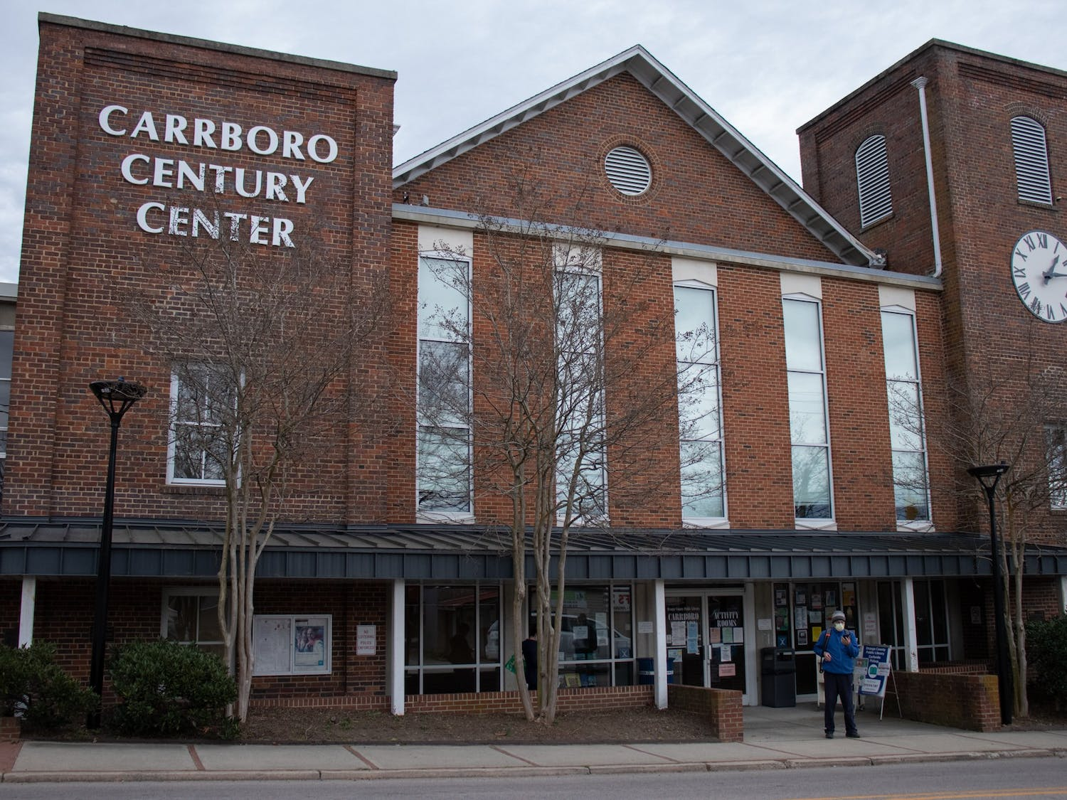 Carrboro Century Center as photographed on March 15, 2021, is located on N Greensboro St. in Carrboro and houses The Cybrary, a technology-based library service.