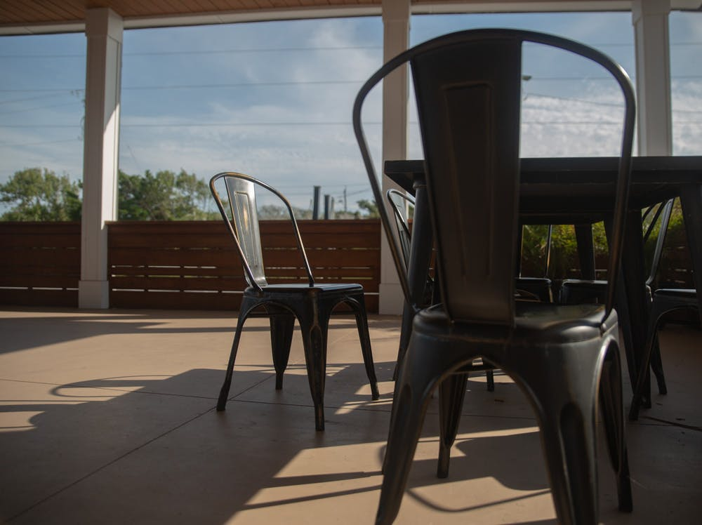 <p>Empty tables sit outside of Table 9 at Atlantic Beach on Monday, Oct. 5, 2020. As fall approaches and temperatures drop, Chapel Hill restaurants are looking to adapt their outdoor seating options while complying with COVID guidelines.</p>