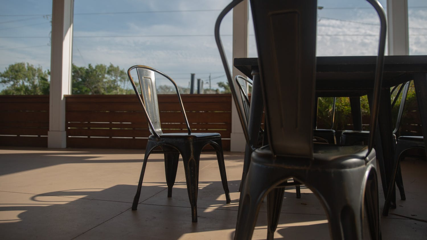 Empty tables sit outside of Table 9 at Atlantic Beach on Monday, Oct. 5, 2020. As fall approaches and temperatures drop, Chapel Hill restaurants are looking to adapt their outdoor seating options while complying with COVID guidelines.