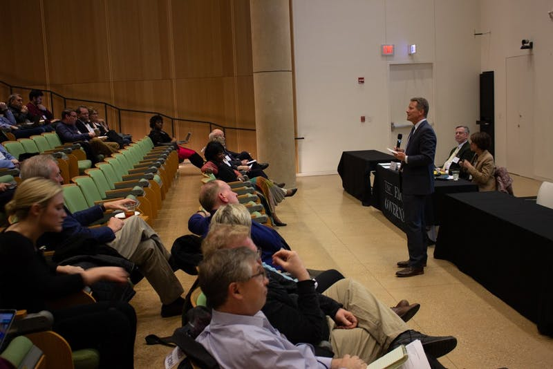 Interim Chancellor Kevin Guskiewicz gave updates about the University at the meeting of the Faculty Council and the General Faculty in Genome Sciences Building on Friday, March 8, 2019.  He discussed the naming of the Adams School of Dentistry, campaign events, the General Education Curriculum and diversity.
