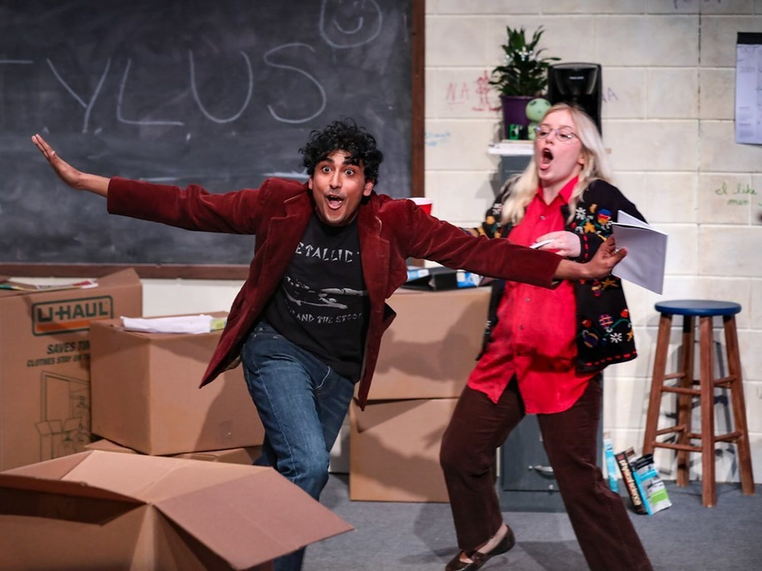 Junior Anish Pinnamaraju, a dramatic arts and communications double major, acting in a recent production with Kenan Theatre Company. Photo courtesy of Anish Pinnamaraju.