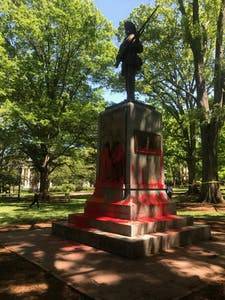 UNC doctoral student Maya Little was arrested by UNC Police for painting the Confederate monument Silent Sam red on Monday afternoon.