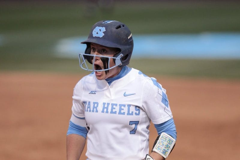 Senior Taylor Wike celebrates during a game against N.C. State on April 16 in Anderson Stadium.