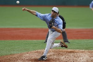 UNC pitcher Benton Moss (39) delivers a pitch in the game against Duke on Saturday. Carolina was defeated by the Blue Devils in their three game series 3-0 at Jack Coombs Field in Durham, NC.