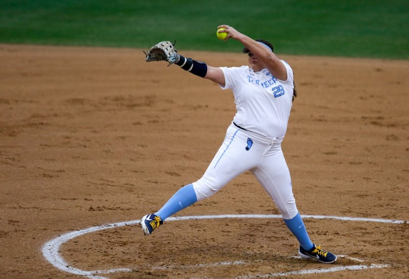 Brittany Pickett (28) pitches against Michigan on Friday, Feb. 15, 2019 in Anderson Stadium.
