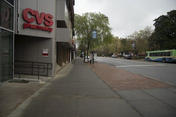 An empty Franklin Street on March 23, 2020. Coronavirus has forced several businesses to close down or significantly reduce operations.