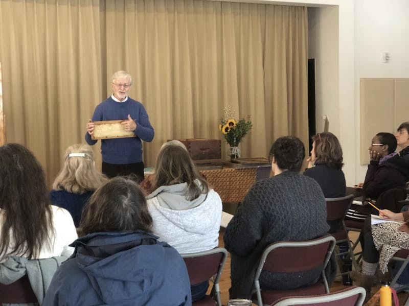 On Saturday, Gunther Hauk led a beekeeping workshop about the philosophy of keeping bees.