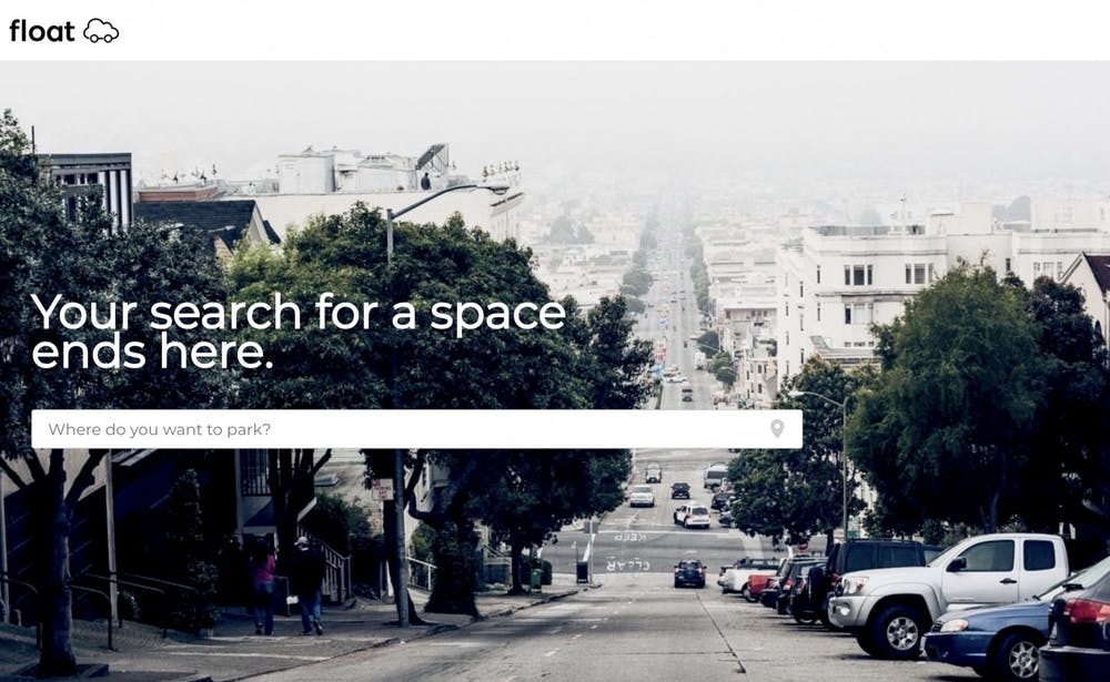 The homepage of Float's website from which a user can search for different parking locations.