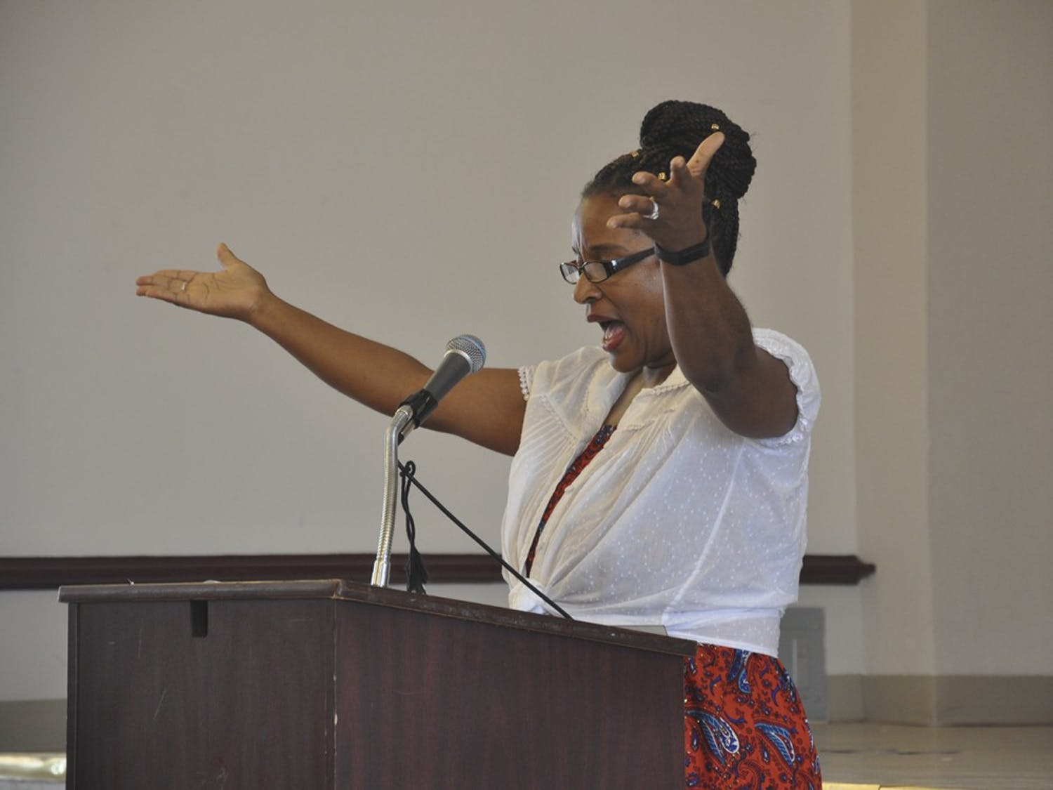 """Michelle Laws speaks at Carrboro's annual reading of Fredrick Douglass' speech, """"The Meaning of July Fourth for the Negro."""""""