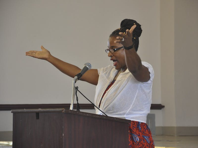 "Michelle Laws speaks at Carrboro's annual reading of Fredrick Douglass' speech, ""The Meaning of July Fourth for the Negro."""