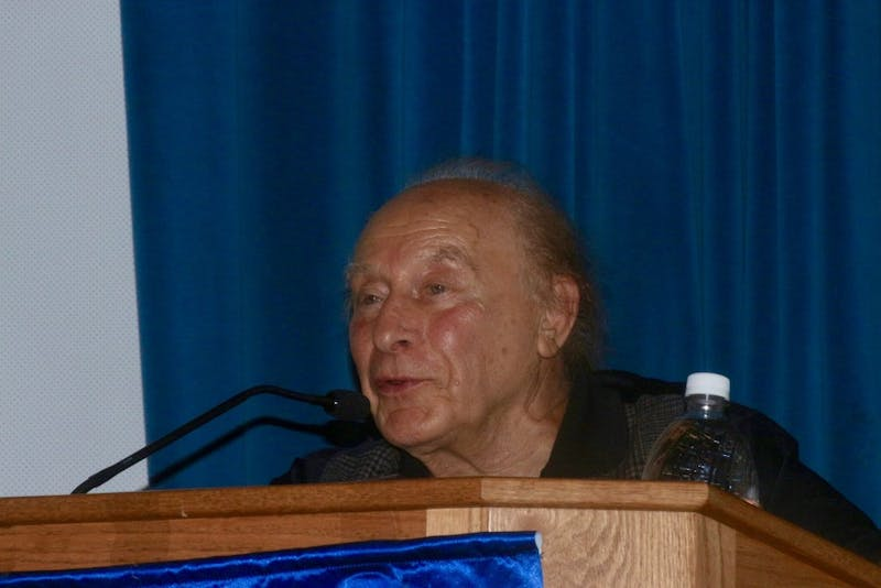Dr. Tibor Spitz presented his artwork and life story of surviving the Holocaust in the Union Auditorium on Wednesday evening.