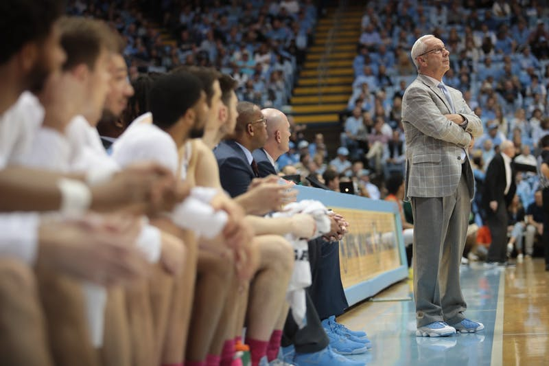 Head Coach Roy Williams watches the game against Miami unfold in the Smith Center on Saturday, Jan. 25, 2020. With a 94-71 win against the Hurricanes, the Tar Heels broke a losing streak and allowed Williams to surpass Dean Smith in all-time wins.