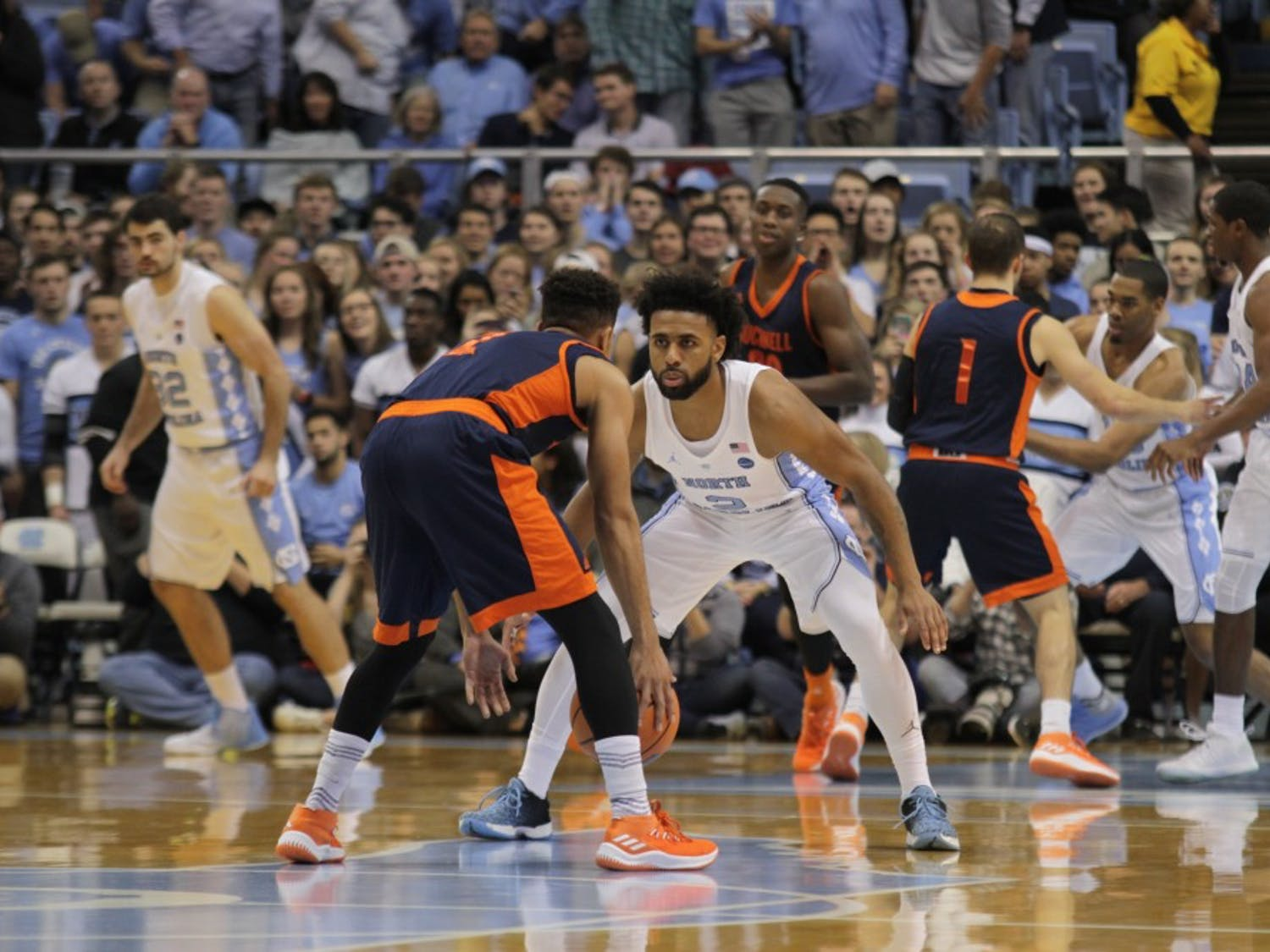 The No. 9 North Carolina men's basketball team defeated Bucknell, 93-81, on Nov. 15 in the Smith Center. Junior Luke Maye led UNC with 20 points and was followed by senior Theo Pinson, who scored a career-high 19. The win was head coach Roy Williams' 400th as North Carolina's head coach and 200th in the Smith Center.