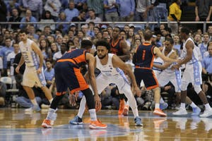 Guard Joel Berry II (2) defends a Bucknell guard on Nov. 15 in the Smith Center.