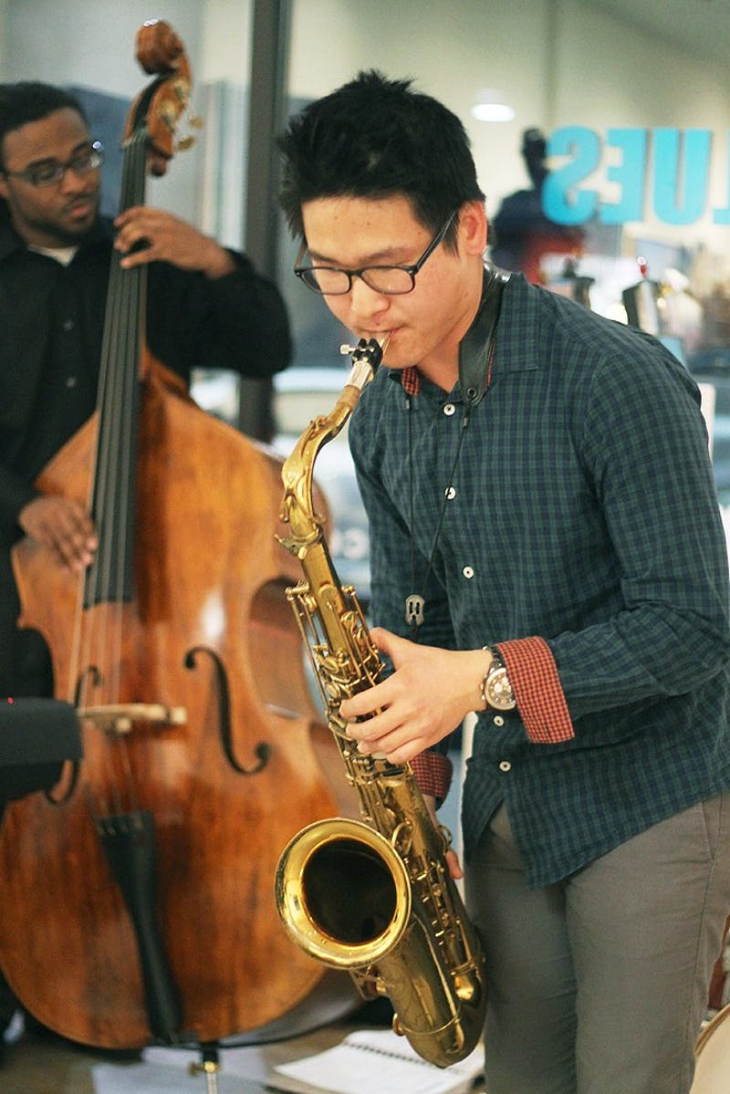 Frank Gallery hosted a Valentine's Day performance with EROT poetry and Jazz as part of their weekly salons. Matthew Booth FreshmanJazz PerformanceTJ RichardsonSeniorBase Performance