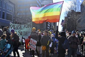 North Carolina resident Napier Fuller is demanding that county and city governments in Orange County remove displays of rainbow flags and stickers from government buildings.            DTH/Nina Tan