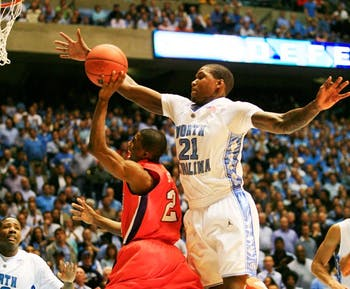 Deon Thompson (21) and North Carolina enter the season ranked in the top 10 despite losing four of five starters. DTH File Photo