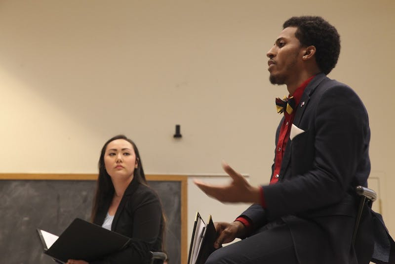 UNC Young Democrats held a debate between the two Student Body President candidate, Elizabeth Adkins and Maurice Grier,in Hamilton Hall on Feb. 28.