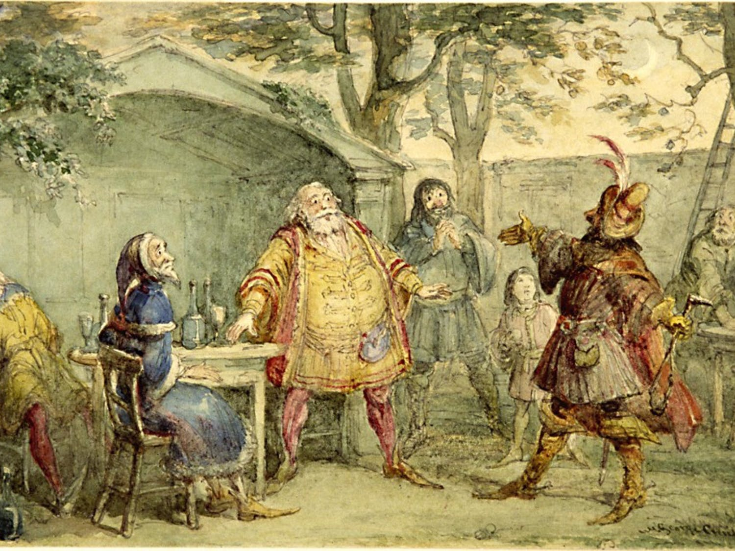 """A painting by Dickens' illustrator George Cruikshank titled, """"A Brush with Shakespeare."""" Courtesy of the Ackland Art Museum"""