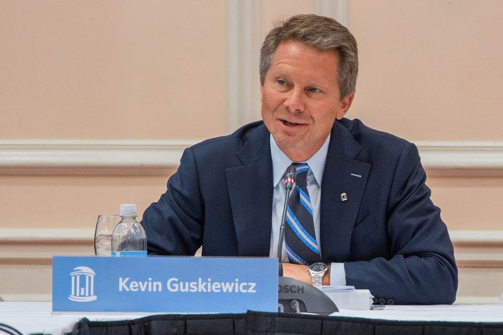 Interim Chancellor Kevin Guskiewicz speaks at the final UNC Board of Trustees (BOT) meeting of the year at the Carolina Inn on Thursday, Nov. 21, 2019.