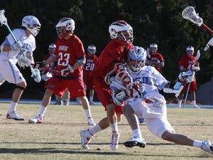 Men's lacrosse Feb. 12 against Robert Morris. UNC won 14-11.