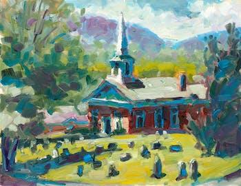 """Churchyard"", oil painting by Brett LaGue of a historic cemetery in Fincastle Virginia. Photo courtesy of Brett LaGue."