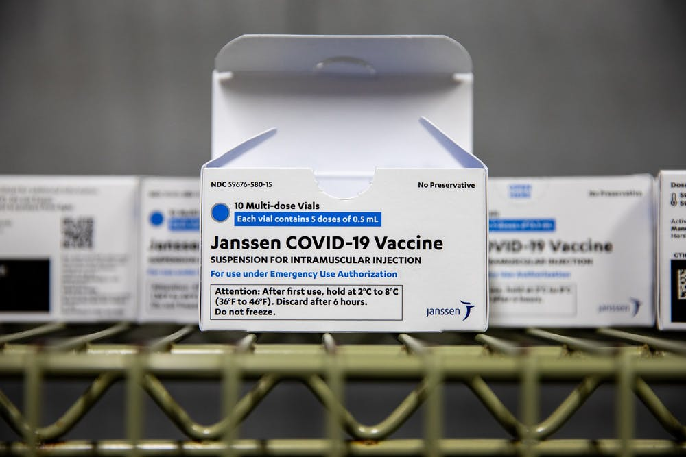 Vaccine boxes lie in the walk-in freezer of the former Wendy's in the Student Union on March 31, 2021. As North Carolina began to allow college students to receive coronavirus vaccines, UNC opened a clinic on campus where students can receive the Johnson & Johnson vaccine.