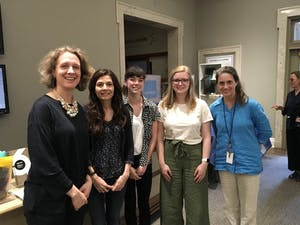 From left to right, Katie Lindner, Joanneke Elliott, Sara Elliott, Maura Kitchens, and Beth Mueller, all event organizers of Europe Week at UNC. Photo by Grant Peet.