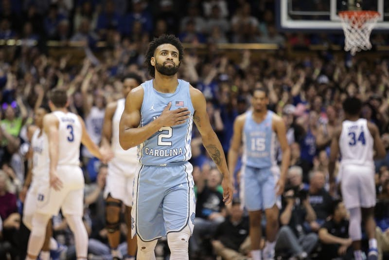 North Carolina guard Joel Berry II (2) walks off the floor after UNC's loss to Duke on March 3.