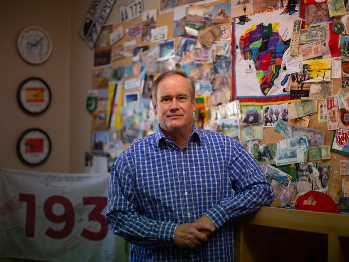 Jim Kitchen poses for a portrait in his office on Franklin Street on Tuesday, Feb. 23, 2021. Kitchen has visited all 193 countries recognized by the United Nations and wants to go to space next.