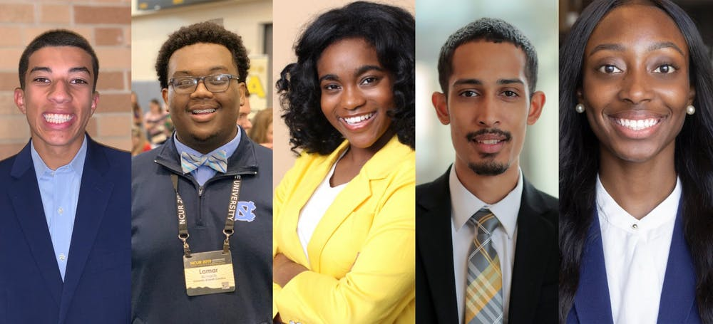 <p>Five Black student leaders at UNC, from left to right, sophomore Greear Webb, sophomore Lamar Richards, junior Maya Logan, graduate student Jalyn Howard, and senior Tamiya Troy.</p>