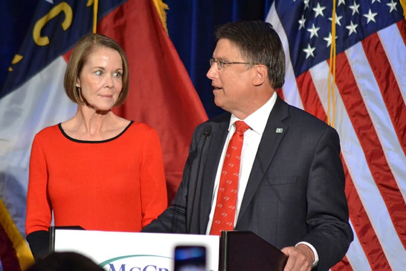 Former GovernorPat McCrory speaks on Election night in November. He was chased down by protestors in Washington, D.C. which caused proposals for a bill to increase security for former governors.