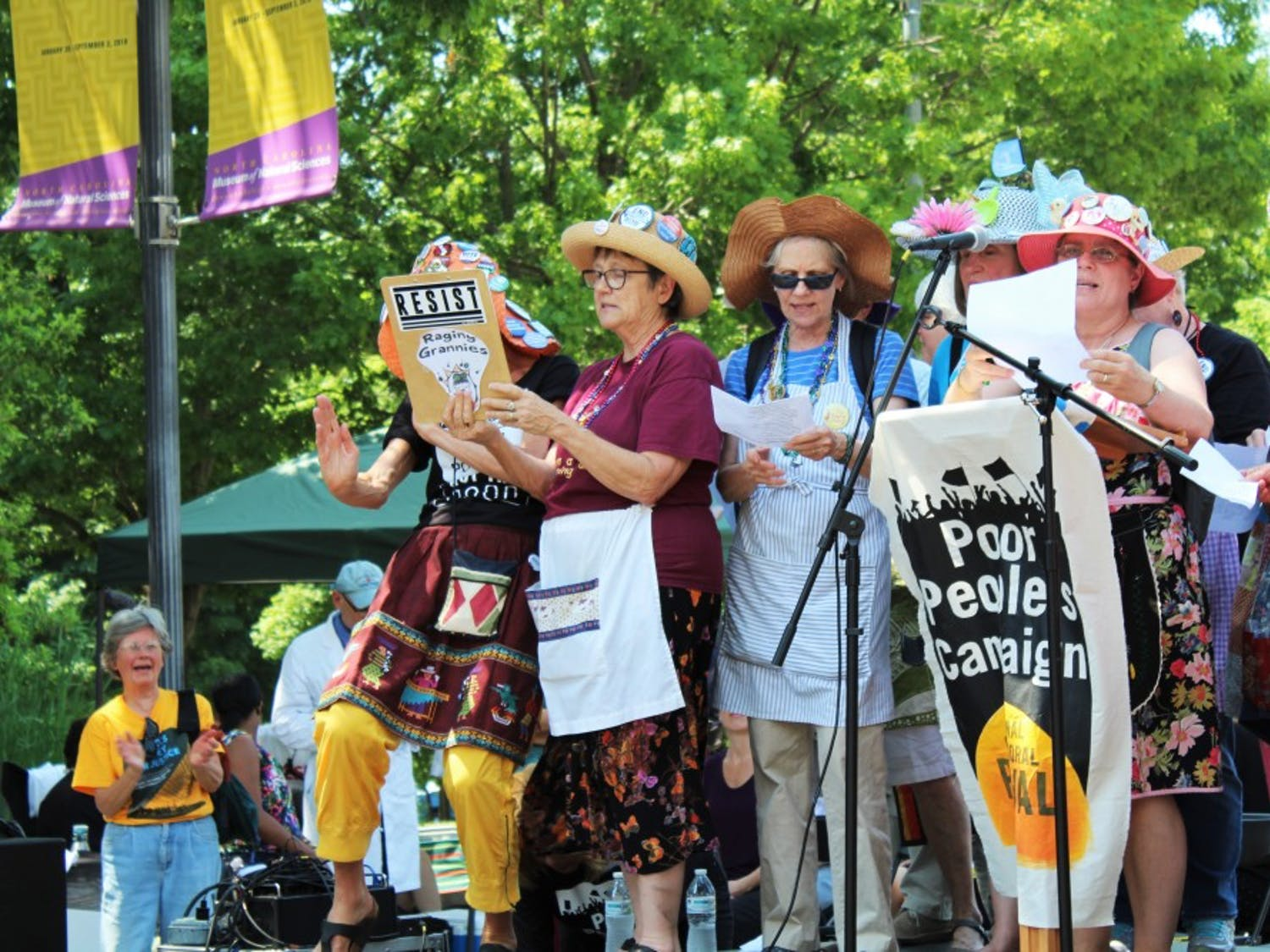 The Raging Grannies take the stage on May 14 during a rally with the North Carolina Poor People's Campaign.