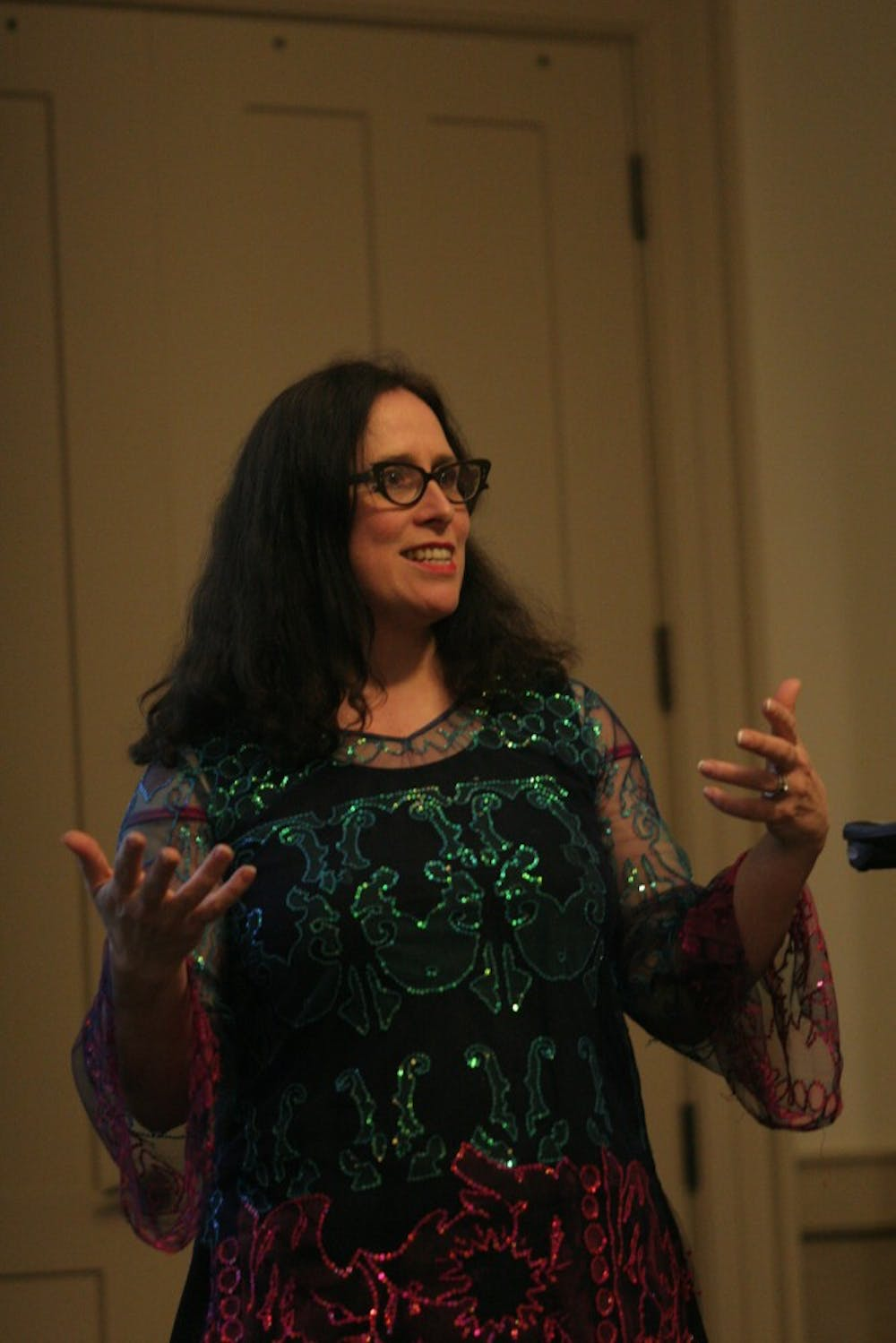 """Caitlin Fisher, Canada Research Chair in Digital Culture and Director of the Augmented Reality Lab at York University gave a lecture entitled """"Building small worlds"""" Tuesday evening in Hyde Hall. Augmented reality involves overlaying digital images on the real world. """"Augmented reality is a magical technology where the rules haven't been written yet. Augmented reality is important because it uses digital tools but the real world still matters,"""" Caitlin said. During the lecture she showed clips of various projects that she and her students have done and talked about projects that they are currently working on. She emphasized the potential for augmented reality in relation to other academic disciplines and the importance of having creative people who have stories to tell."""