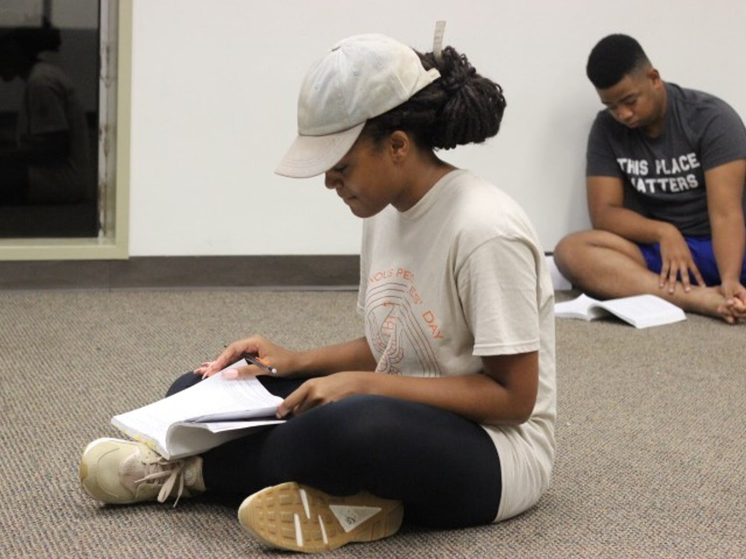 Liz Howard rehearses for Company Carolina's production of Godpsell. Howard plays the lead, Jesus, in the play, which opens on Nov. 1, 2018.