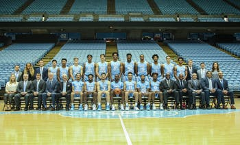The 2019-2020 UNC Men's basketball team posed during the UNC Men's Basketball Media Day in the Dean Smith Center on Wednesday, Oct. 2, 2019.