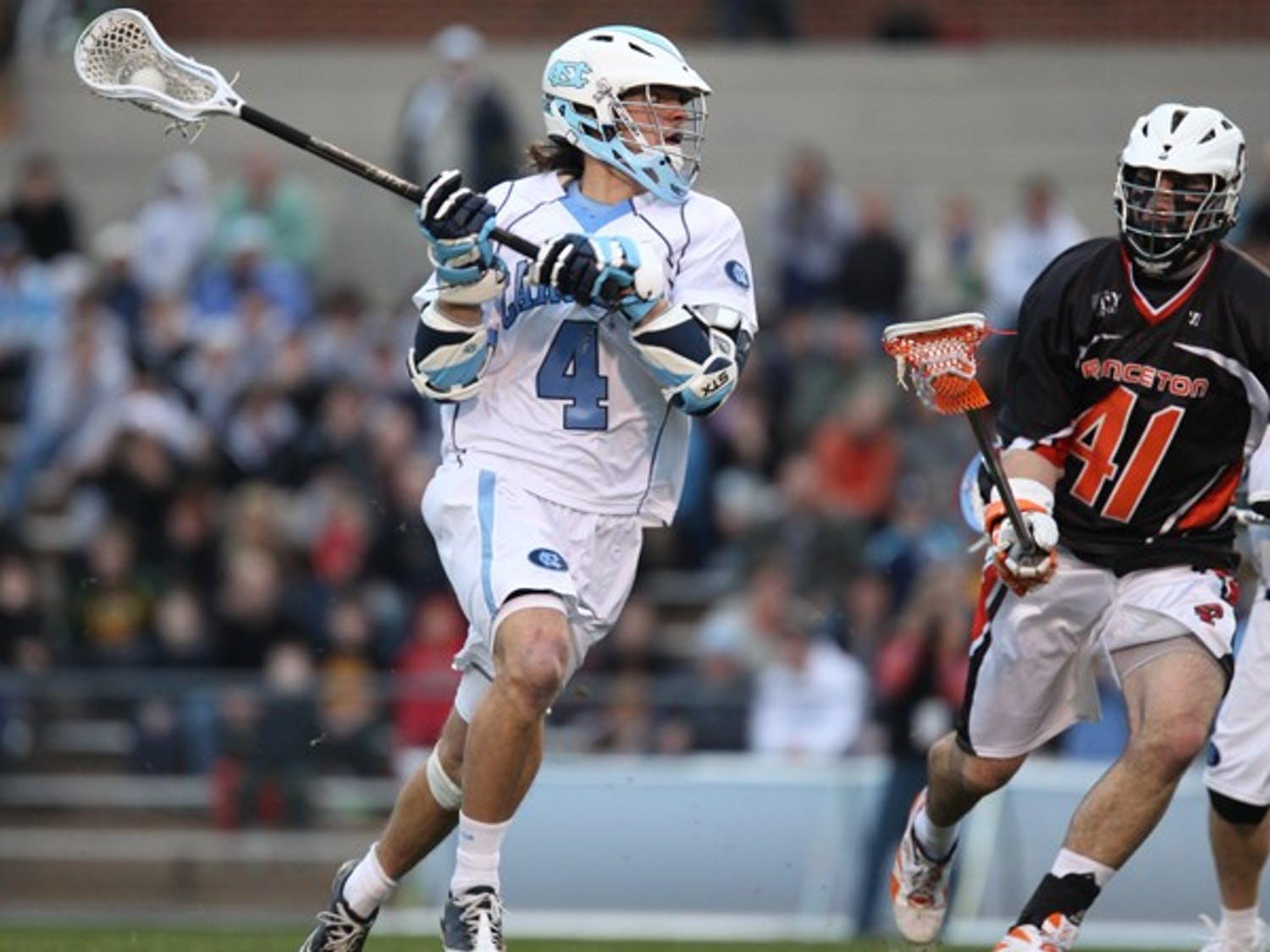 No. 3 Tar Heels' offense and netted four goals against No. 5 Princeton in Tuesday's one-goal victory.  DTH/ Phong Dinh