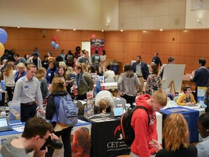 Students visit various booths at the UNC Study Abroad Fair on Jan. 24, 2020 in the Great Hall. UNC Global Guarantee promises to give all students access to a global experience, and hopes that by 2023 a majority of undergraduate students will study abroad.
