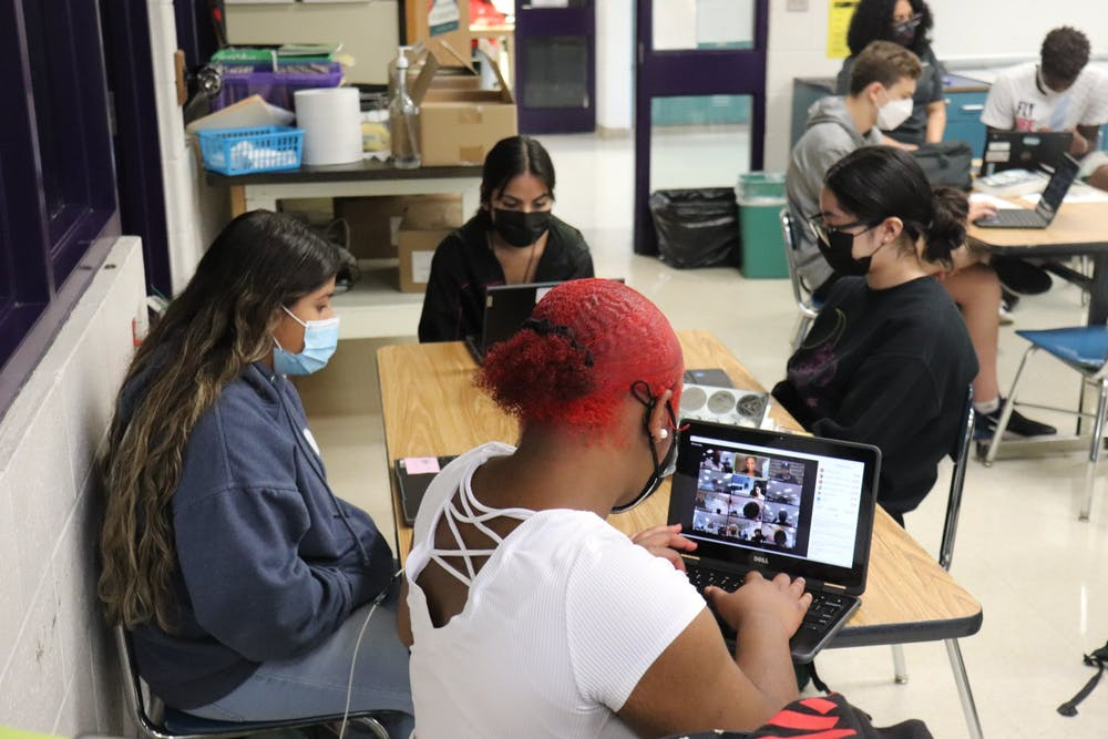 <p>The Ida B. Wells Society's yearlong project with Riverside's journalism program kicks off at Riverside High School in Durham. Photo courtesy of Benjamin Meglin.</p>