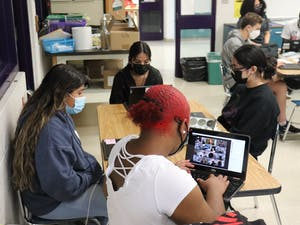 The Ida B. Wells Society's yearlong project with Riverside's journalism program kicks off at Riverside High School in Durham. Photo courtesy of Benjamin Meglin.