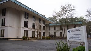 The C.D. Spangler Jr. Building, one of the buildings that houses administrative offices for the UNC System, as photographed on Sunday, Feb. 28, 2021.