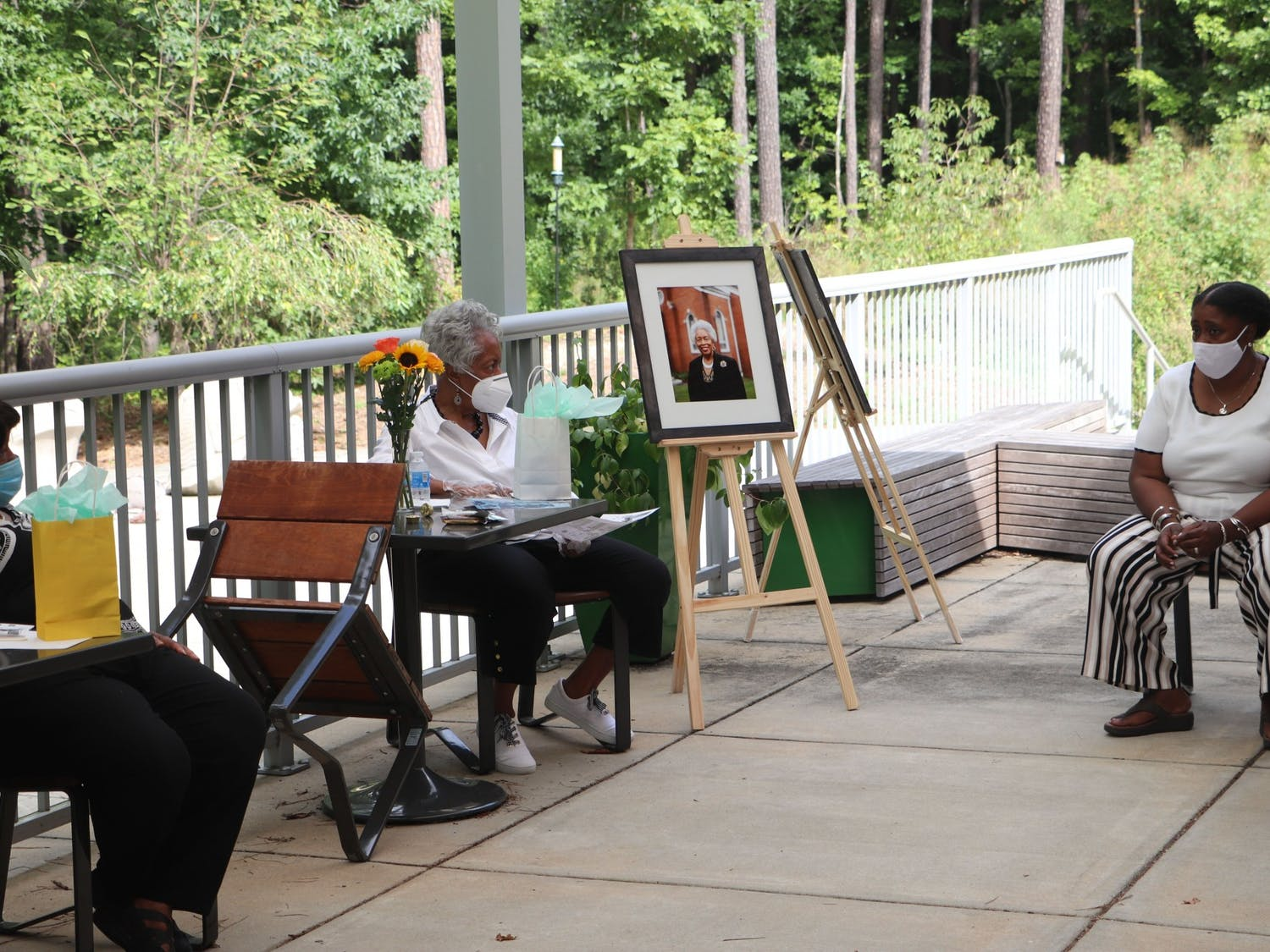 An in-person, socially-distant celebration in summer 2020 celebrated the women who created and contributed to the I Was Still Singing exhibit. Photo courtesy of Mandella Younge.