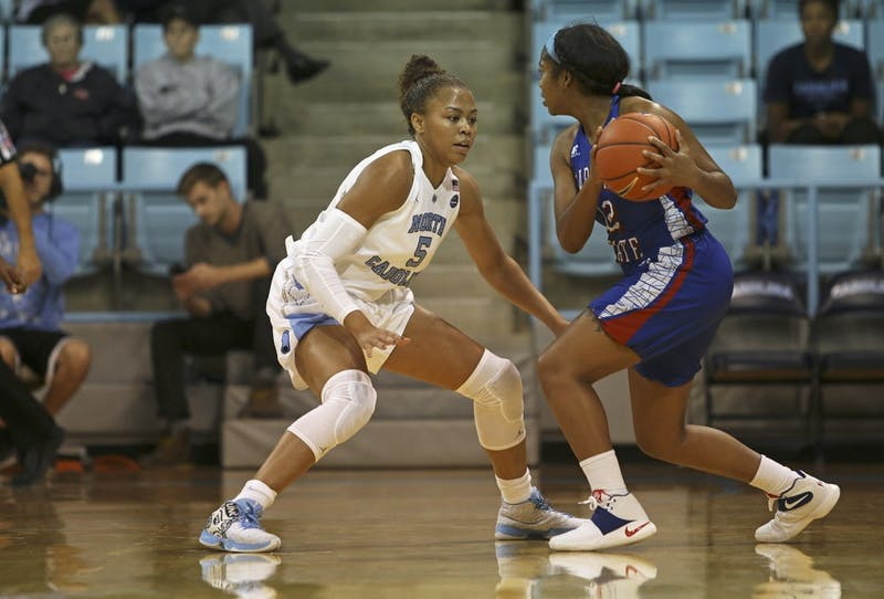 Sophomore guard Stephanie Watts (5) defends during the game against Elizabeth City State at Carmichael Arena on Monday.