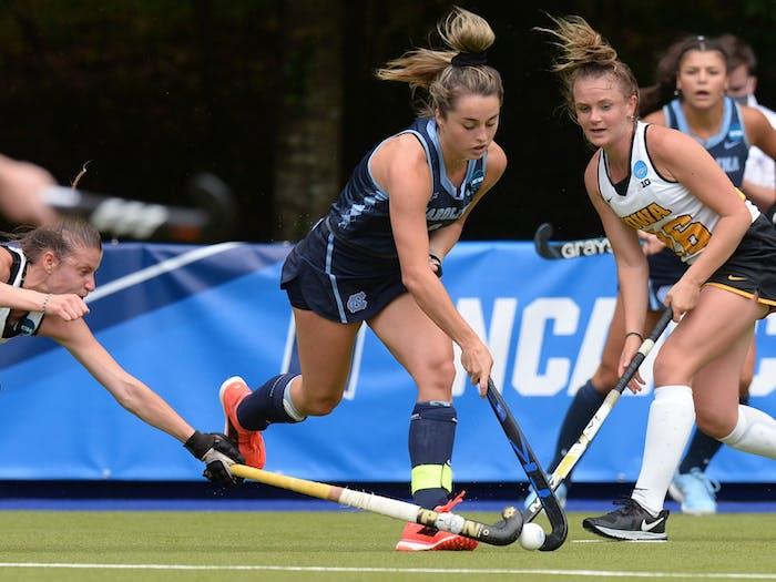 Erin Matson runs with the ball at the NCAA Semi-Final against Iowa at the Karen Shelton Stadium in Chapel Hill, NC on Friday, May 7, 2021. Photo Courtesy of Jeff Camarati.
