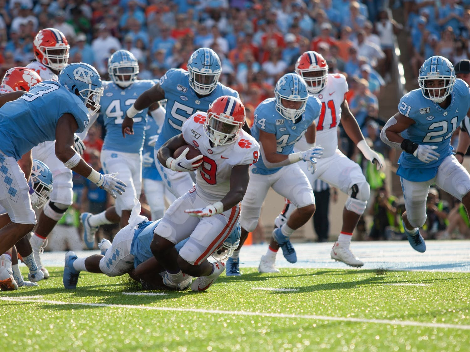 UNC and No.1 Clemson faced off on Saturday, Sept. 28, 2019 in Kenan Memorial Stadium. UNC fell short of ending Clemson's 19 game winning streak, 21-20.