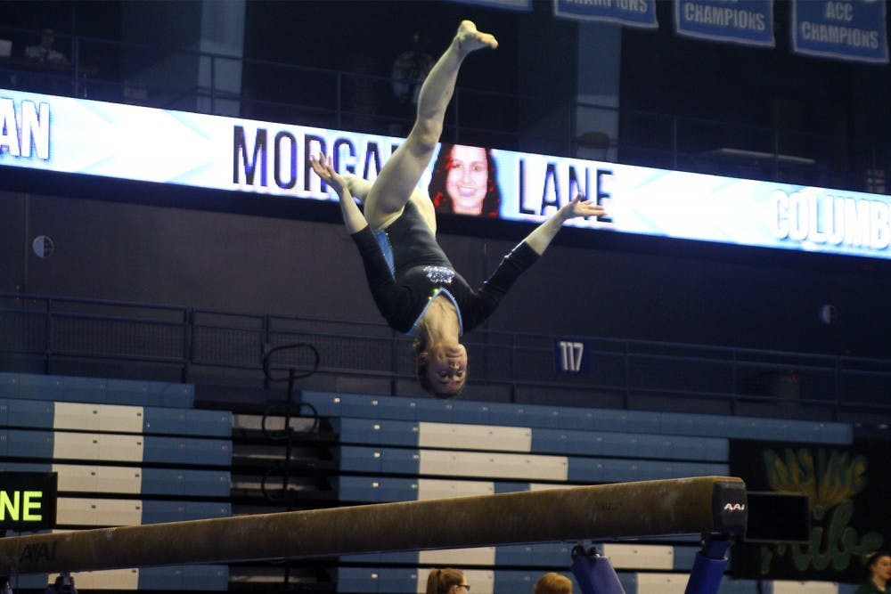Freshman gymnast Lane finds new family with Tar Heels
