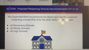 The OCS Board of Education voted on March 23, 2021 to allow all elementary schools to open fully in-person under Plan A. Middle and high schools will not fully open until next fall.