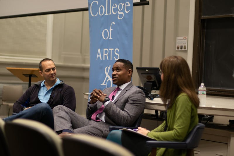 (From right) Molly Worthen, UNC History Professor and New York Times contributing opinion writer, moderates a discussion between Democrat political strategist Justin Giboney and The Bulwark executive editor Jonathan V. Last at The Program for Public Discourse's first meeting on Tuesday, Nov. 12, 2019.