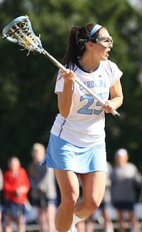 Kaitlyn Messinger led UNC in figuring out the Richmond sag defense and scored three goals on six shot attempts for UNC.